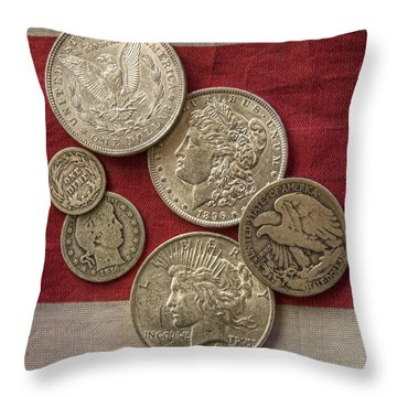 American Silver Coins Throw Pillow by Randy Steele