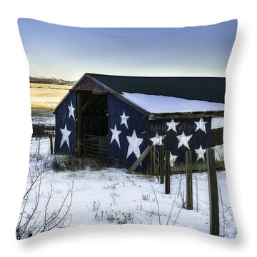 Throw Pillow featuring the photograph American Snow  by Bitter Buffalo Photography