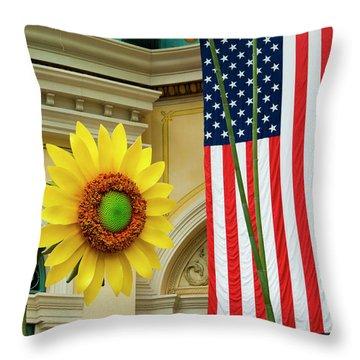 American Sunflower Throw Pillow by Rae Tucker