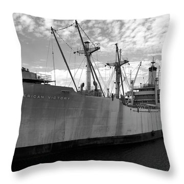 American Victory Ship Tampa Bay Throw Pillow by David Lee Thompson