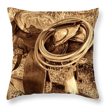 American West Legend Rodeo Western Lasso On Saddle Throw Pillow by American West Legend By Olivier Le Queinec