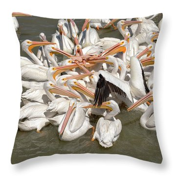 American White Pelicans Throw Pillow by Eunice Gibb