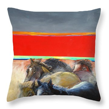 American Wild Horses Herded To Slaughter Throw Pillow