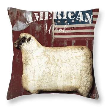 American Wool Throw Pillow by Mindy Sommers