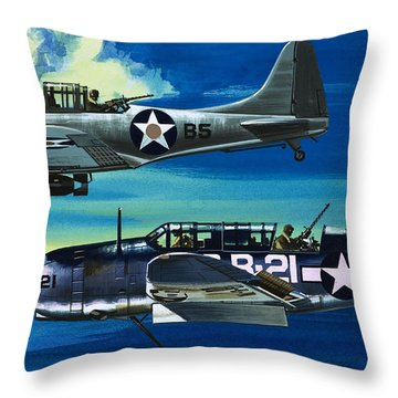 American Ww2 Planes Douglas Sbd1 Dauntless And Curtiss Sb2c1 Helldiver Throw Pillow by Wilf Hardy