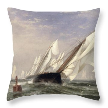 American Yacht Sappho Winning The Race With The English Yacht Livonia For The Americas Cup Throw Pillow