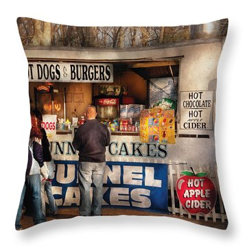 Americana - Food - Hot Dogs And Funnel Cakes Throw Pillow by Mike Savad