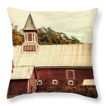 Americana Barn Throw Pillow by Lisa Russo