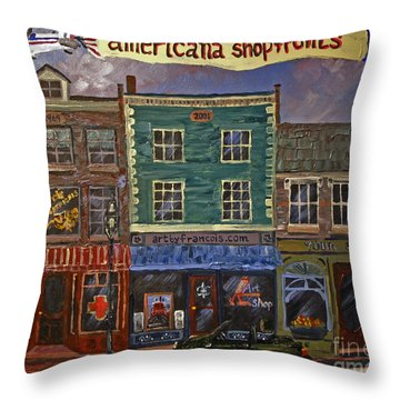 Americana Shopfronts Throw Pillow