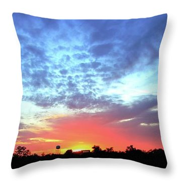 City On A Hill - Americus, Ga Sunset Throw Pillow by Jerry Battle