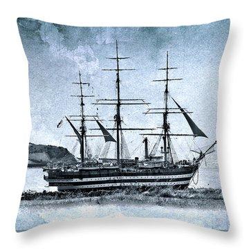 Amerigo Vespucci Sailboat In Blue Throw Pillow by Pedro Cardona Llambias