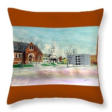Amesbury Public Library Circa 1920 Throw Pillow