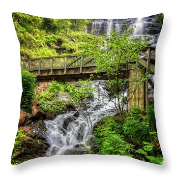 Throw Pillow featuring the photograph Amicalola Falls Top To Bottom by Debra and Dave Vanderlaan