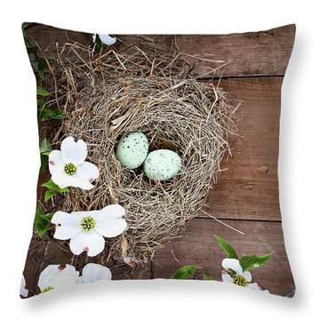 Throw Pillow featuring the photograph Amid The Dogwood Blossoms by Stephanie Frey