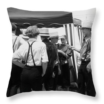 Amish Auction Day Throw Pillow by Eric  Schiabor