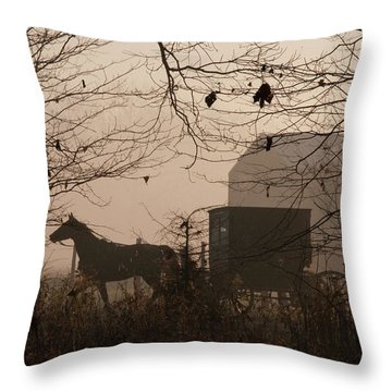 Amish Buggy Fall Throw Pillow