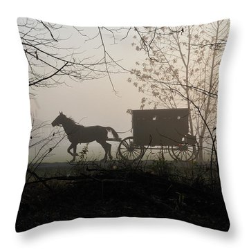 Amish Buggy Foggy Sunday Throw Pillow
