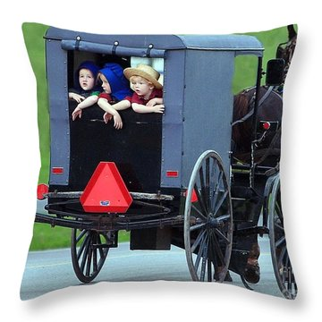 Amish Country Tour Throw Pillow by Randy Matthews