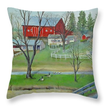 Throw Pillow featuring the painting Amish Farm by Oz Freedgood