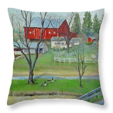 Amish Farm Throw Pillow