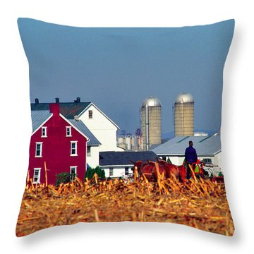 Amish Farm Throw Pillow by Thomas R Fletcher