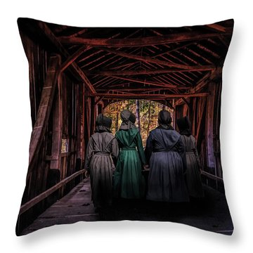 Amish Girls In Covered Bridge Throw Pillow