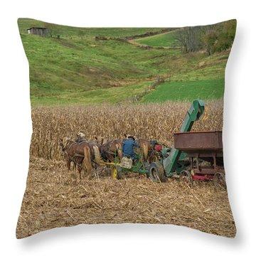 Amish Harvest In Ohio  Throw Pillow