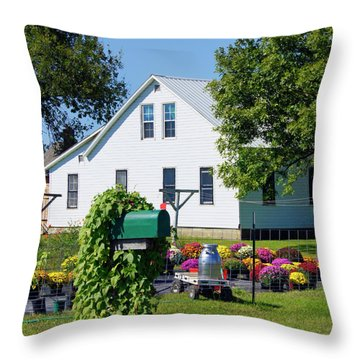 Throw Pillow featuring the photograph Amish House With Mums by Cricket Hackmann