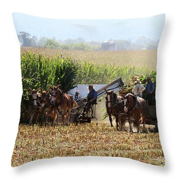 Amish Men Harvesting Corn Throw Pillow