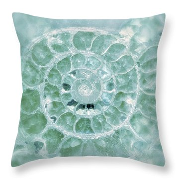Ammonite Emerald Green Throw Pillow