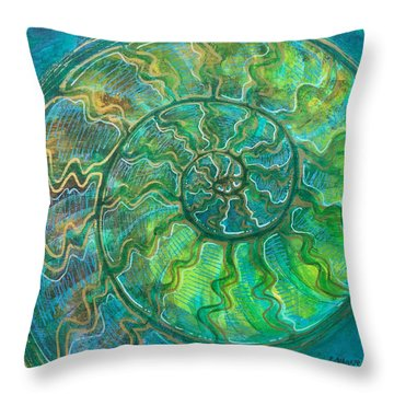 Throw Pillow featuring the painting Ammonite Number One by Laurie Maves ART