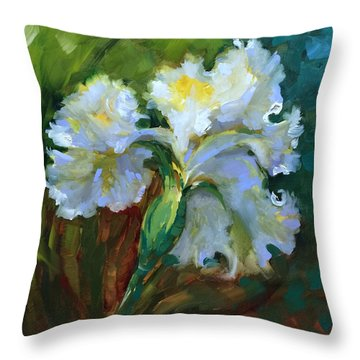 Among The Angels White Iris Throw Pillow by Nancy Medina