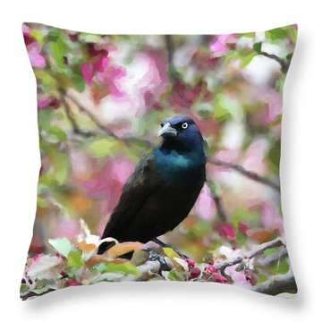 Throw Pillow featuring the digital art Among The Blooms by Betty LaRue