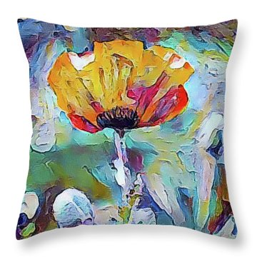 Among The Poppies II Throw Pillow