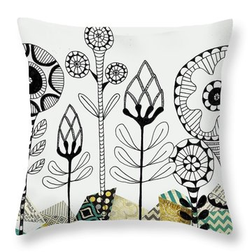Throw Pillow featuring the mixed media Among The Rocks by Lisa Noneman