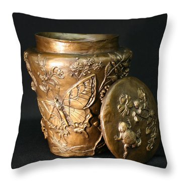 Throw Pillow featuring the sculpture Among The Sagebrush Vase With Lid by Dawn Senior-Trask