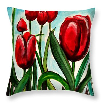 Among The Tulips Throw Pillow by Elizabeth Robinette Tyndall
