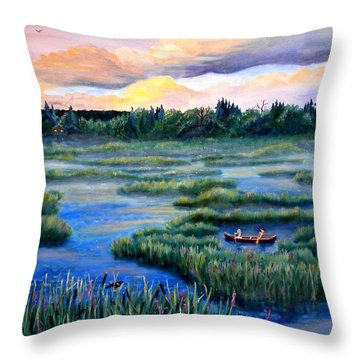 Amongst The Reeds Throw Pillow by Renate Nadi Wesley