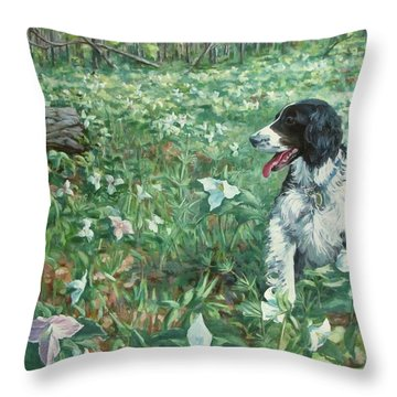 Amongst Trilliums Throw Pillow
