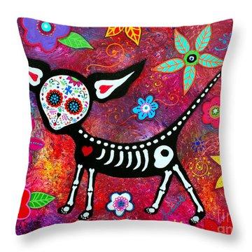 Throw Pillow featuring the painting Amor Pelado by Pristine Cartera Turkus