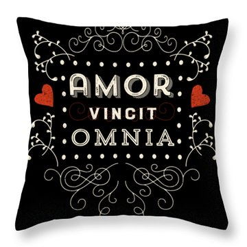 Amor Vincit Omnia Chalkboard Style Throw Pillow