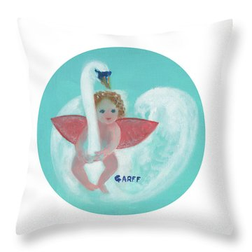 Amorino With Swan Throw Pillow