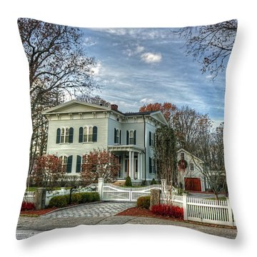 Amos Tuck House In Late Autumn Throw Pillow