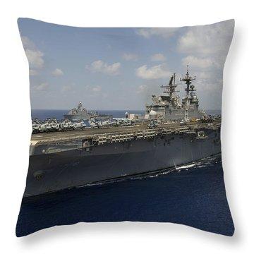 Amphibious Assault Ship Uss Makin Throw Pillow