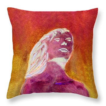 Throw Pillow featuring the painting Amphitrite Siren Of Sunset Reef by Donna Walsh