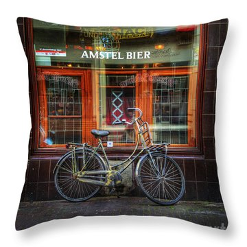 Throw Pillow featuring the photograph Amstel Bier Bicycle by Craig J Satterlee