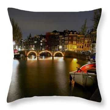 Amsterdam At Night Throw Pillow