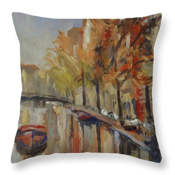 Amsterdam Autumn With Boat Throw Pillow