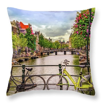 Amsterdam Bicycles Throw Pillow