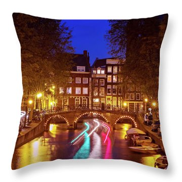 Amsterdam By Night Throw Pillow